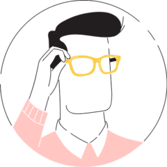 An animation of a man trying on his glasses
