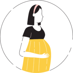 An animation of a pregnant lady holding her bump
