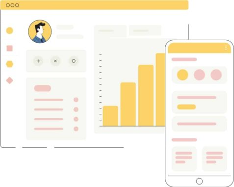 An animation of a phone layout and graphs